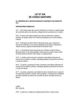 LEY N° 836 DE CODIGO SANITARIO