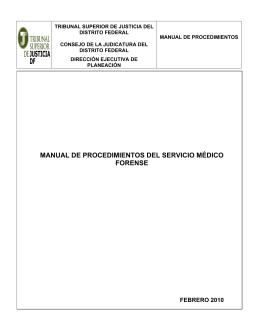 MANUAL DE PROCEDIMIENTOS DEL SERVICIO MÉDICO FORENSE