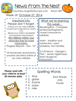 News from the Nest - Second Grade Owls