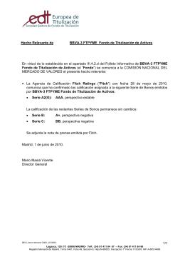 Hecho Relevante de BBVA-3 FTPYME Fondo de Titulización de