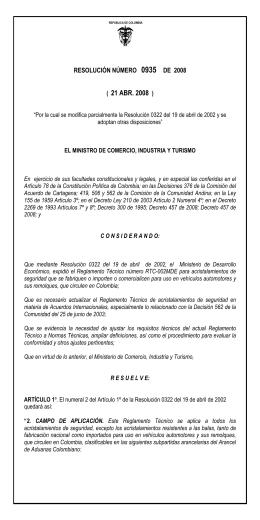 Resolución 0935 de 2008 - Ministerio de Comercio, Industria y