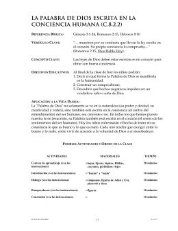 LA PALABRA DE DIOS ESCRITA EN LA CONCIENCIA HUMANA (C