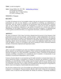 La tarea investigativa. Autor: Enrique Balbis Coll IM. MSc. ebalbis