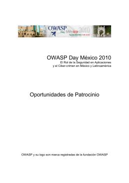 OWASP Day México 2010 Oportunidades de Patrocinio