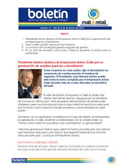 Presidente Santos destaca al empresario Arturo Calle por su