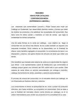 RESUMEN VENTA POR CATALOGO CORPORACION MODA