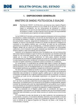 Real Decreto 106/2011, de 28 de enero, por el que se crea y regula el
