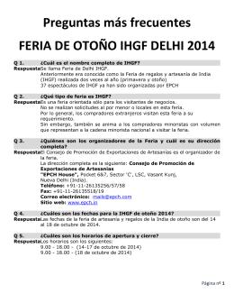 Preguntas más frecuentes FERIA DE OTOÑO IHGF DELHI 2014