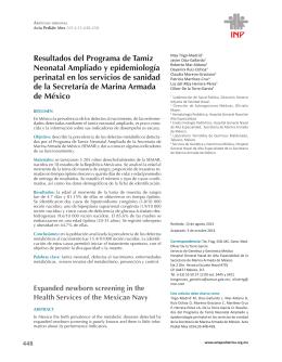 Resultados del Programa de Tamiz Neonatal