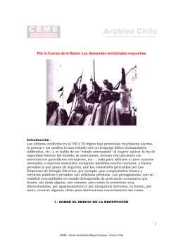 Por la Fuerza de la Razón Las demandas territoriales mapuches