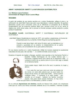 AMAR Y AGRADECER: MARTÍ Y LA NATURALEZA GUATEMALTECA