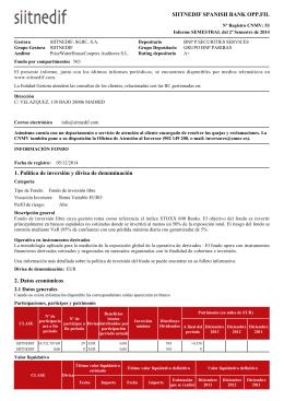 SIITNEDIF SPANISH BANK OPP.FIL 1. Política de inversión y divisa