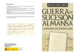 BIBLIOGRAFÍA ALBAREDA SALVADÓ, J. La Guerra de Sucesión de