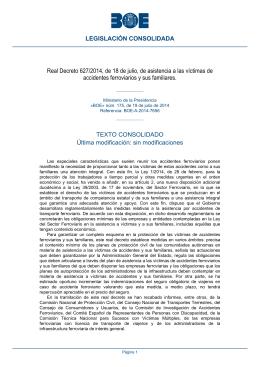 Real Decreto 627/2014, de 18 de julio, de asistencia a las