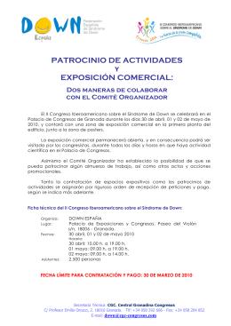 PATROCINIO DE ACTIVIDADES y EXPOSICIÓN COMERCIAL: