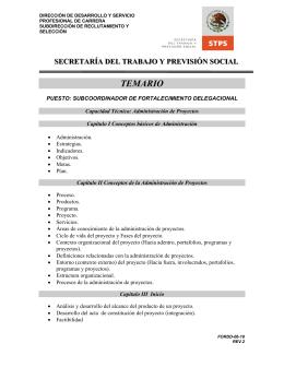 TEMARIOS DE LA CONVOCATORIA No. 047