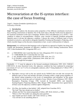 Microvariation at the IS-syntax interface: the case of focus fronting