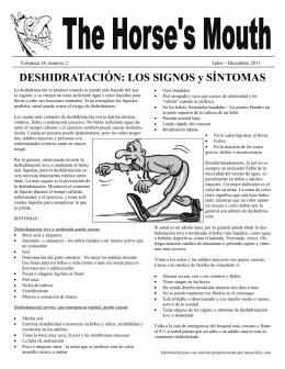 DESHIDRATACIÓN: LOS SIGNOS y SÍNTOMAS