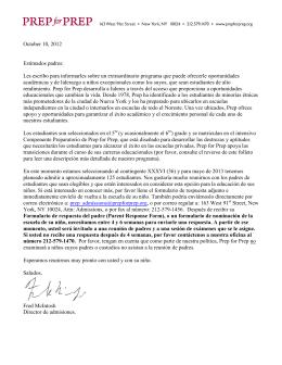 October 10, 2012 Estimados padres: Les escribo