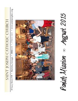 Parish Mission August 2015 - Saint Joseph Catholic Church
