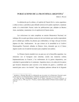 REVISTAS DE LA FRANCOFILIA ARGENTINA