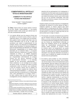 """COMENTARIOS AL ARTíCULO """"ÉTICA E INVESTIGACIÓN"""""""
