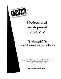 Professional Development Module IV