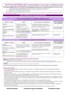 NOTAS GENERALES Actividades Convenio Colaboración