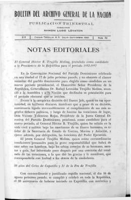 NOTAS EDITORIALES - Boletín del Archivo General de la Nación