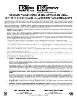Términos y condiciones de los Servicios por Internet (o en línea)