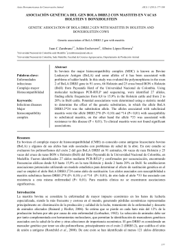 asociación genética del gen bola drb3.2 con mastitis en vacas