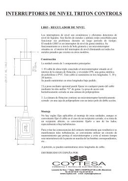 Folleto Interruptor de nivel LR03 Coytesa