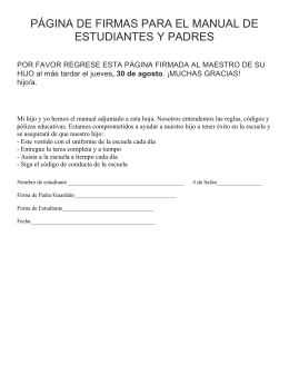 página de firmas para el manual de estudiantes y padres