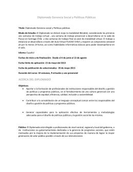 Diplomado Gerencia Social y Políticas Públicas ACERCA DEL