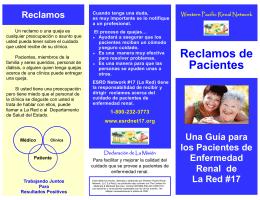 Reclamos de Pacientes - Western Pacific Renal Network