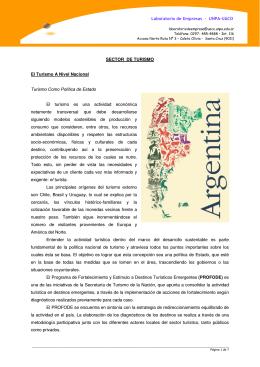 Laboratorio de Empresas – UNPA-UACO SECTOR DE TURISMO El