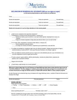 DECLARACION DE RESIDENCIA DEL ESTUDIANTE (SRS por sus