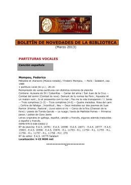 BOLETÍN DE NOVEDADES DE LA BIBLIOTECA