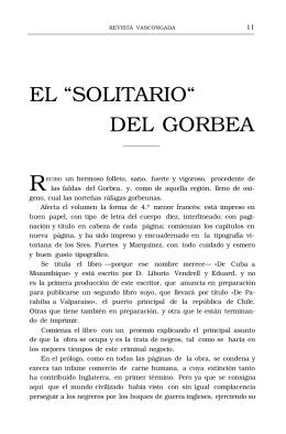 """EL """"SOLITARIO"""" DEL GORBEA"""