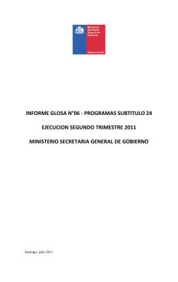 informe glosa n°06 - programas subtitulo 24 ejecucion segundo