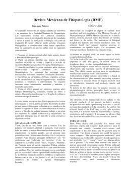 Guía para Autores - Revista Mexicana de Fitopatología