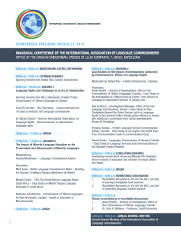 conference program, march 21, 2014