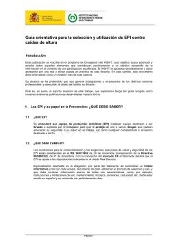 Guía orientativa para la selección y utilización de EPI contra caídas