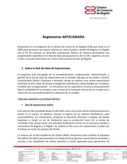 Reglamento ARTECÁMARA - Cámara de Comercio de Bogotá