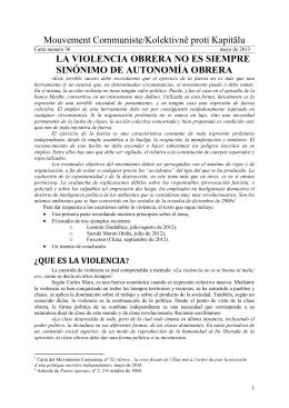 Mouvement Communiste/Kolektivně proti Kapitălu LA VIOLENCIA