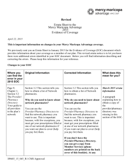 Revised Errata Sheet to the Mercy Maricopa Advantage 2015