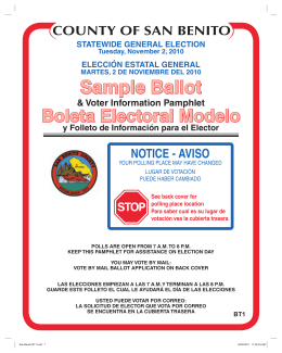 sample ballot - San Benito County Registrar of Voters