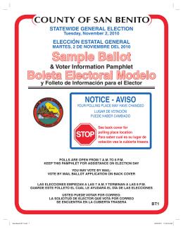 sample ballot - San Benito County Registrar of Voters