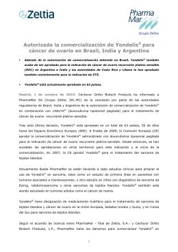 Autorizada la comercialización de Yondelis para