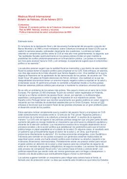 Medicus Mundi Internacional Boletín de Noticias, 26 de febrero 2013